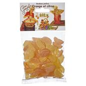 Bonbons orange et citron au sucre de Canne 150 grs